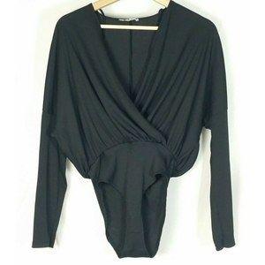 Zara Trafaluc Sml Black Rib Knit Surplice Bodysuit